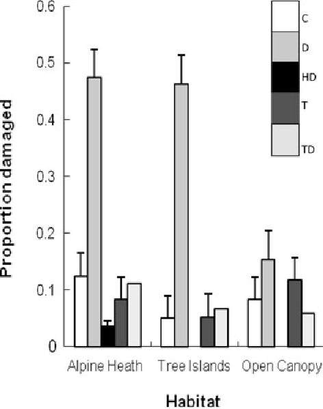 Fig. 4 Proportion of damaged P. mariana seedlings (±SE) planted in 2004 by the last survey of 2005 across treatments (C control, D Disturbance, HD Herbivore exclusion x disturbance, T Temperature enhancement, TD Temperature enhancement 9 Disturbance) and habitats