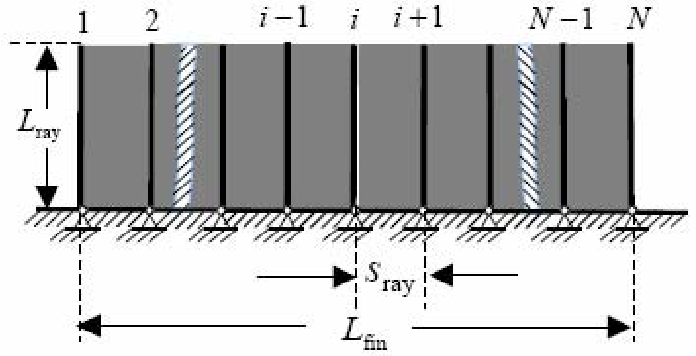 Figure 2. The structure of the simplified physical model of the long-based fin. finL denotes the length of the fin, rayL is the highness of the fin-ray, and rayS is the space between consecutive fin-rays.