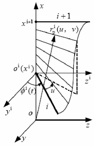 Figure 4. Sketch of the curved surface of the fin cell at time t during the long-based fin undulating.