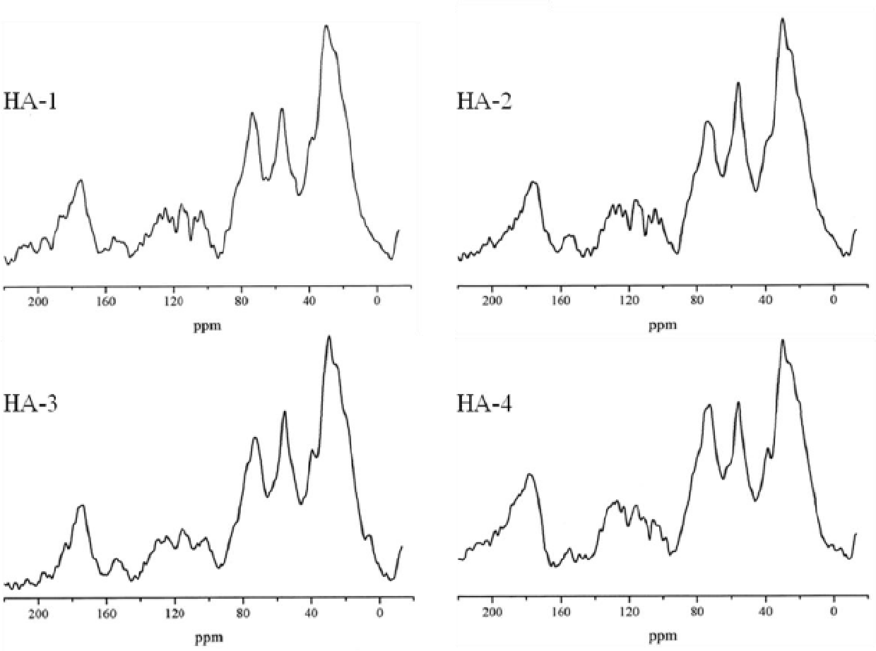 Fig. 7. Solid state CP-MAS 13C NMR spectra of HA.