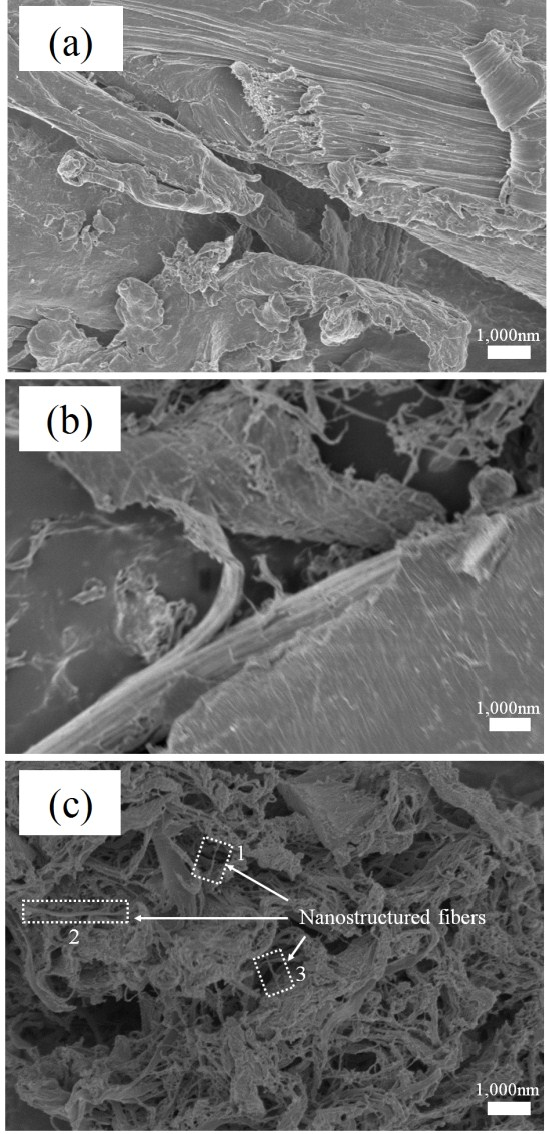 Figure 2. SEM micrographs show the surface morphology of (a) untreated WF; (b) LCNF (W4); and (c) LCNF (W8). Representative nanostructured fibers were enclosed by dotted frame. The diameter of each nanostructured fibers are approximately (1) 66.4 nm, (2) 97.9 nm, and (3) 87.4 nm, respectively.