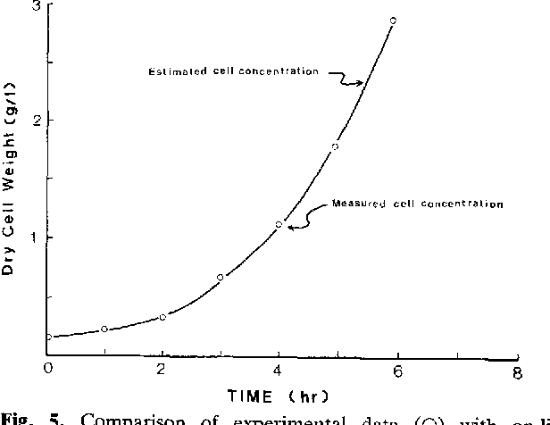 Fig. 5. Comparison of experimental data (O) with on-line estimated cell concentrations ( - ) for N = 20 using 500-1 pilot fermentor. Culture conditions: 31 ~ C, 7.2% initial sugar, 0.764 VVM, 350 rpm