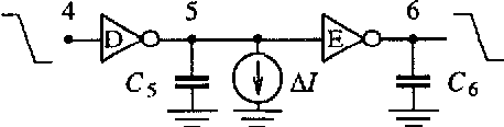 Fig. 8. Two-inverter string with loading capacitors and a disturbing sinusoidal current source AI.