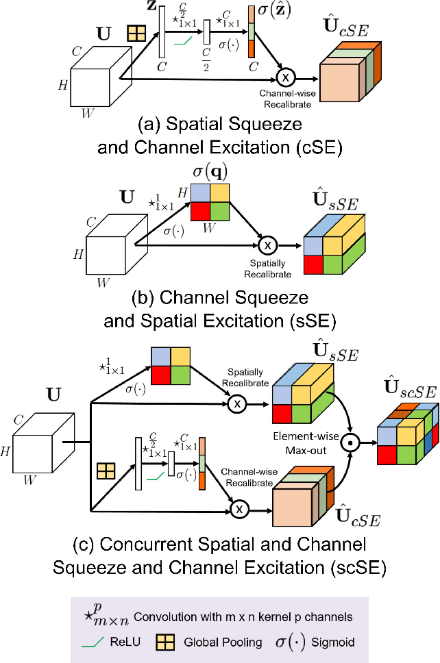 Figure 1 for Recalibrating Fully Convolutional Networks with Spatial and Channel 'Squeeze & Excitation' Blocks