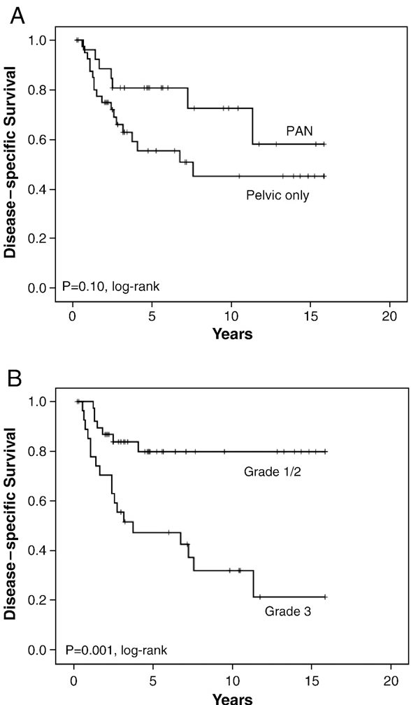 Fig. 1. Clinical characteristics and outcome. Patients with involved PANs had equivalent disease specific survival as those with involved pelvic nodes only (A). Higher grade was strongly associated with lower rates of disease-specific survival (B).