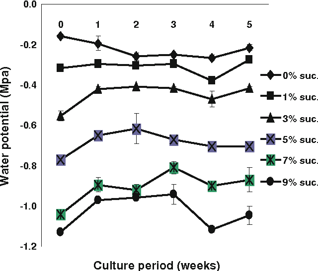 Fig. 4 Changes of water potential in the culture medium as affected by sucrose concentration during 5 weeks of bioreactor culture of E. angustifolia adventitious roots. Bars mean ± SE (n = 3)
