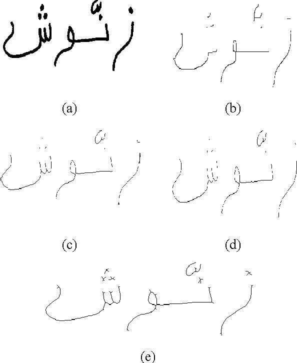Fig. 9. Arabic handwritten word 'zanoush' (شونز) thinned by (b) Zhang-Suen (c) Huang-Wan-Liu (d) SBMO and (e) TBMO methods.