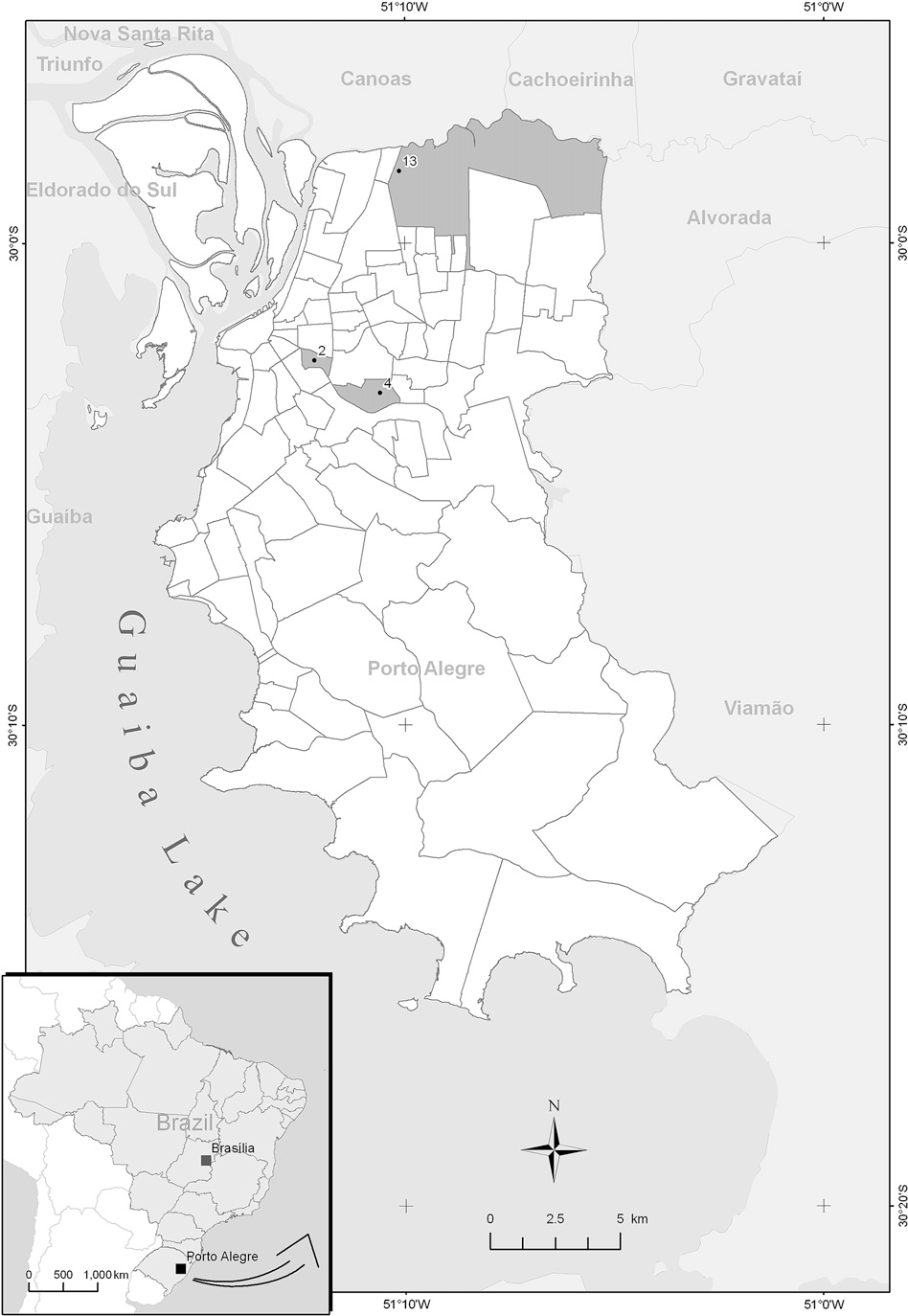 Fig. 1. Map of Porto Alegre, RS, Brazil and representation of sampled stations. Cap