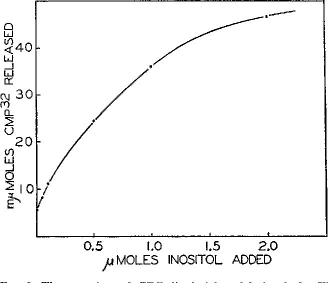 FIG. 6. The reaction of CDP-dipalmitin with inositol. The conditions of the experiment were identical to those shown in Table VIII. The inositol concentration was varied as shown.