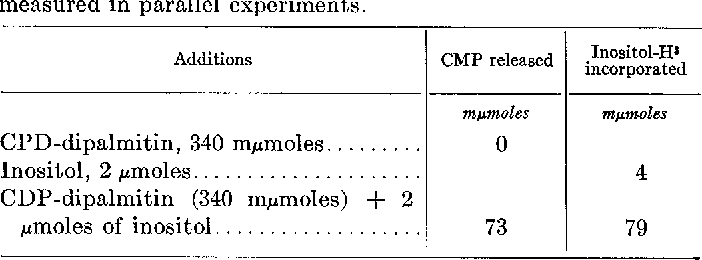 TABLE X Reaction of inositol with CDP-dipalmitin
