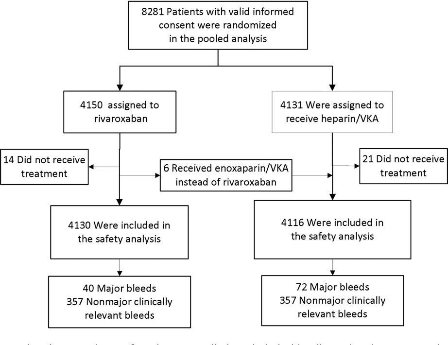 Figure 1. Flow diagram showing numbers of patients enrolled and their bleeding-related outcomes in each treatment arm. VKA = vitamin K antagonist.