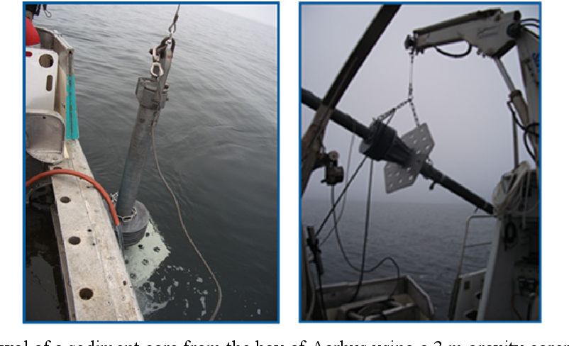 Figure 2-1: Withdrawal of a sediment core from the bay of Aarhus using a 3 m gravity corer.