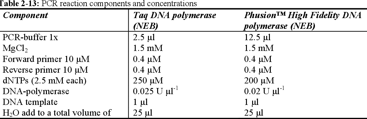 Table 2-13: PCR reaction components and concentrations