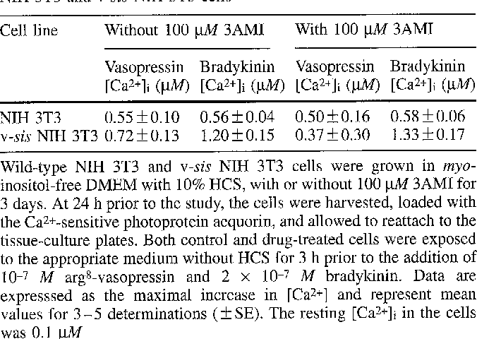 Table 3. Effect of 3AMI on mitogen-stimulated [Ca2+]i responses by NIH 3T3 and v-sis NIH 3T3 cells