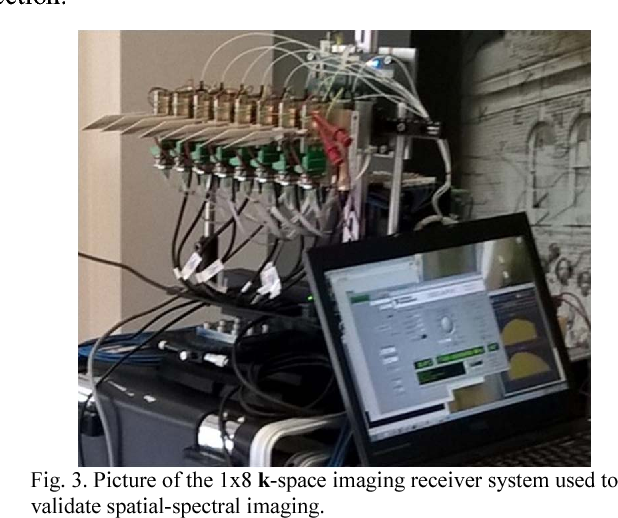 Fig. 3. Picture of the 1x8 k-space imaging receiver system used to validate spatial-spectral imaging.
