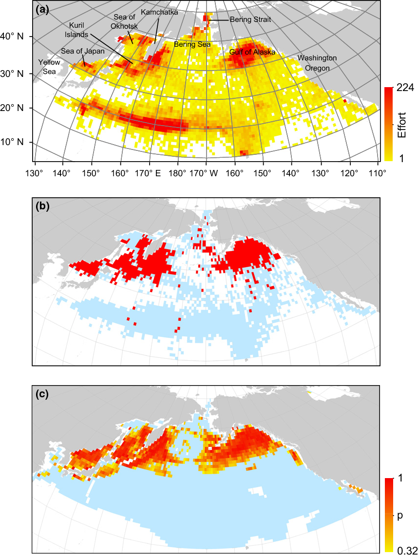 figure 1 historical data and model predictions in the north pacific  (a)  sampling