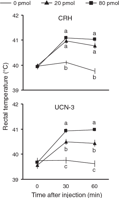 Fig. 2. Rectal temperature after ICV injection of CRH and UCN-3 in chicks. Data are expressed as mean ± SEM. The number of chicks in the 0, 20 and 80 pmol CRH group was 10, 11 and 10, and the number for the UCN-3 group was 9, 11 and 10, respectively. Groupswith different letterswithin each time period are significantly different (P b 0.05).