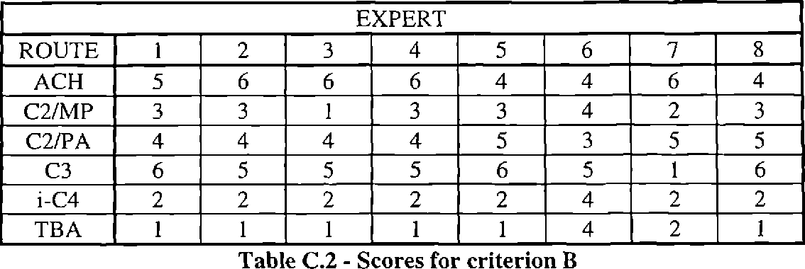 Table C.2 - Scores for criterion B