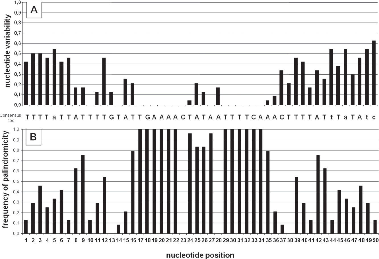 Figure 3. difH sequences. (A) difH consensus sequence and nucleotide variability for difH sequences from 24 epsilon- proteobacterial species (Table 2). If a given nucleotide is present in more than 50% of species it is written in upper case; if not, the most frequent nucleotide is in lower case. The nucleotide variability at each position was defined as 1–f, where f is the frequency of the most frequent nucleotide. (B) Palindromicity was analysed by comparing the 50-nt difH sequence with its inverted complementary counterpart in the 24 epsilon-proteobacterial species (Table 2). When a nucleotide was found both in difH and in the reverse complementary sequence, a value of 1 was given to the position. Next, the values for the 24 difH sequences for each position were added together to give the n value. The palindromicity frequency (fpal) was then estimated as: fpal= n/ 24, with 24 being the number of difH sequences analysed. A fpal value of 1 given to a nucleotide position means that the nucleotide is always part of a palindrome. doi:10.1371/journal.pone.0033310.g003