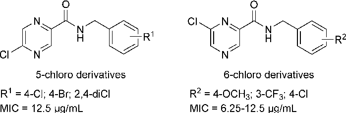 Figure 1. Structures of previously reported chloropyrazine-2-carboxamide derivatives with in vitro antimycobacterial activity (M. tuberculosis H3Rv).