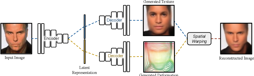 Figure 1 for Deforming Autoencoders: Unsupervised Disentangling of Shape and Appearance