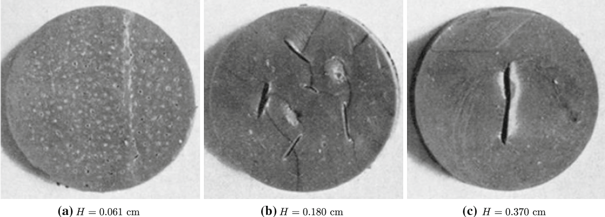 Fig. 13 Midplane of poker-chip test-pieces,made up of the same natural rubberwith initial shearmodulusμ = 0.59MPa, cut open after being subjected to a macroscopic stress of σ = 2.74MPa. a–c Correspond, respectively, to rubber disks with initial thicknesses H = 0.061, 0.180, and 0.370cm, as reported by Gent and Lindley (1959)