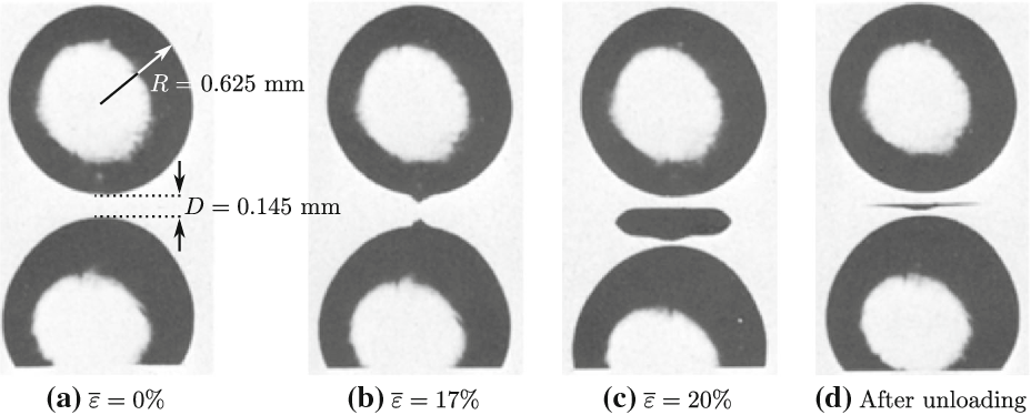 Fig. 21 In-situ photographs of the Gent–Park experiment with initial distance D = 0.145 mm between the particles, of radius R = 0.625mm, at macroscopic strains: a ε = 0, b ε = 17%, and c ε = 20%. d A photograph of the specimen after unloading (Gent and Park 1984)