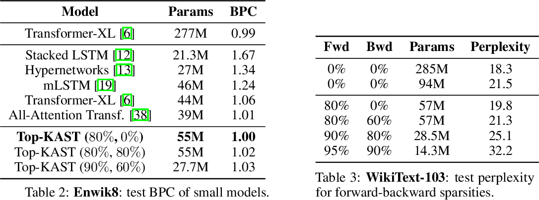 Figure 4 for Top-KAST: Top-K Always Sparse Training
