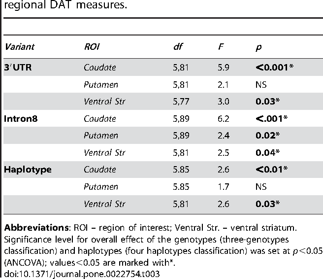 Table 3. Relationships between the SLC6A3 variations and regional DAT measures.