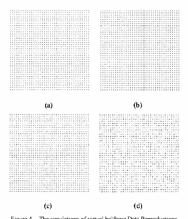 Simulation of digital halftone dot by the use of virtual ink drop
