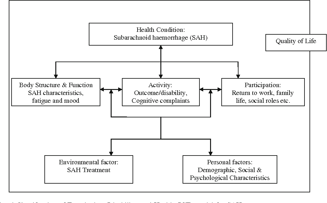 Fig. 1 International Classification of Functioning, Disability, and Health (ICF) model for SAH