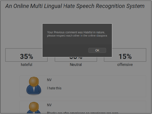 Figure 4 for An Online Multilingual Hate speech Recognition System
