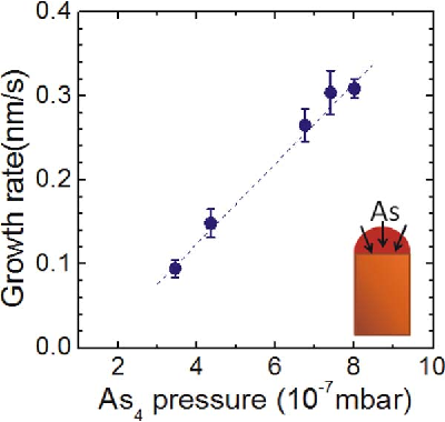Fig 4. Growth rate of the GaAs nanowires as a function of the As4 pressure [39].
