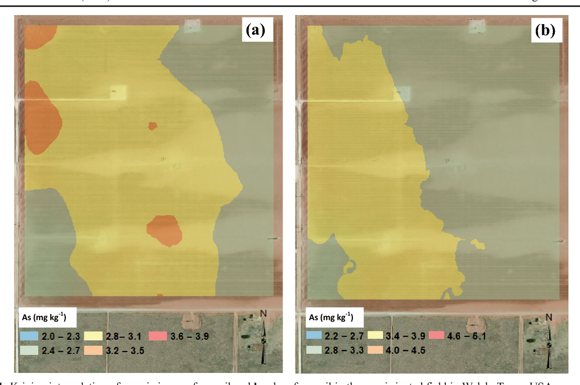Fig. 4 Kriging interpolation of arsenic in a surface soil and b subsurface soil in the non-irrigated field in Welch, Texas, USA