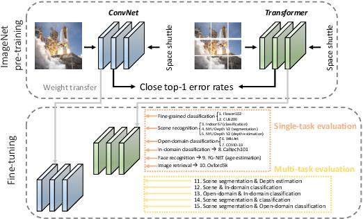 Figure 1 for ConvNets vs. Transformers: Whose Visual Representations are More Transferable?