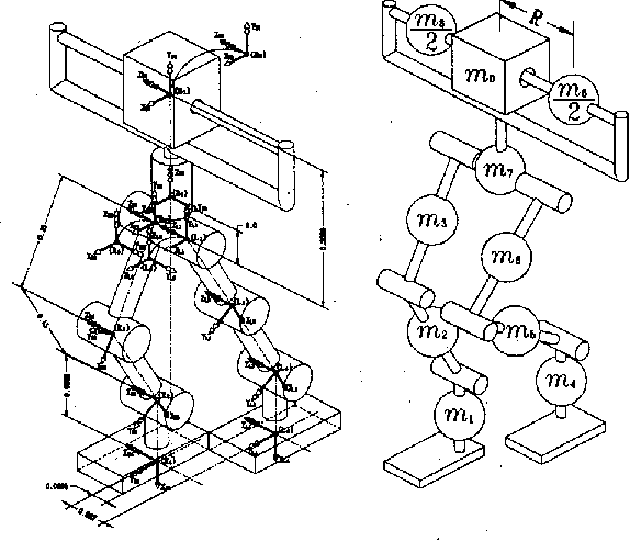 Fig. 1. Kinematics and mass model of IWR-111