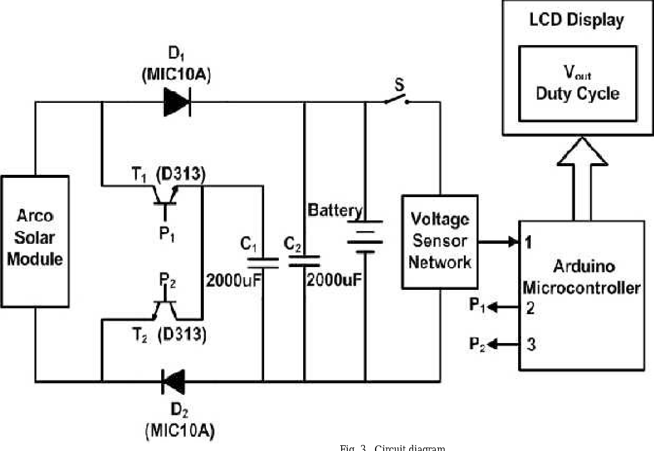Non Inductive Dc Regulated Boost Converter As Battery Charger For Fig 1 Schematic Of Solar Panel Charge Controller Using Arduino And A Photovoltaic Installation Semantic Scholar