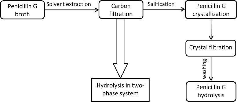 figure 1 schematic overview of the conventional enzymatic process of pen g  purification and 6-