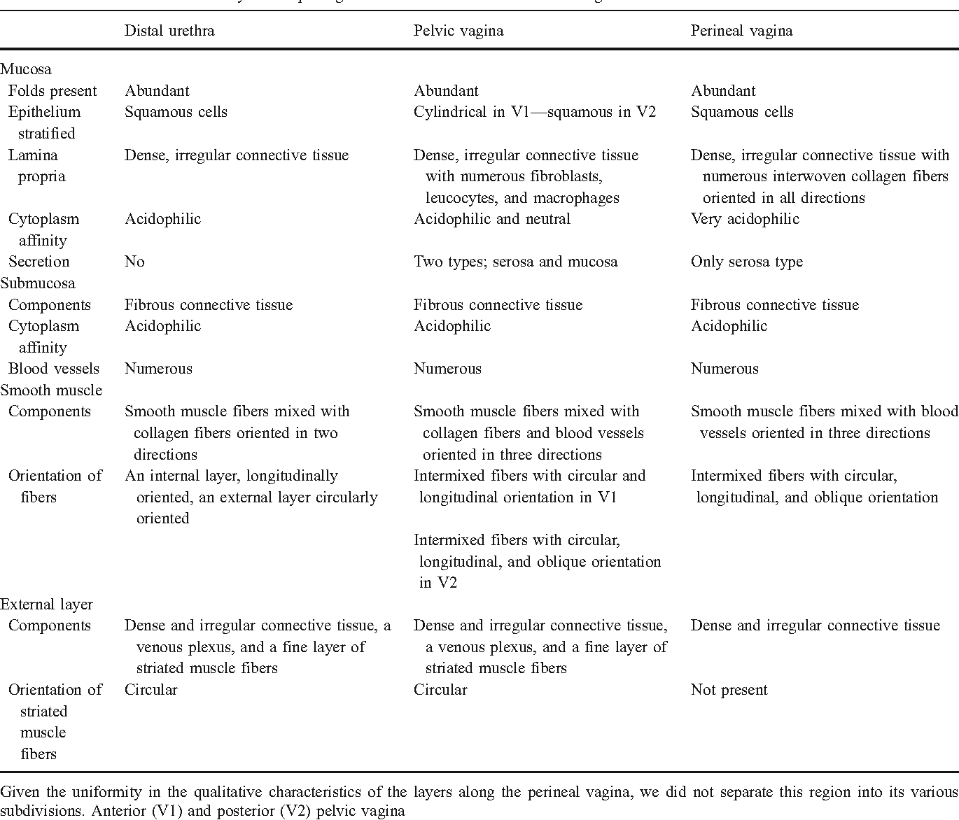 General Tissue Characteristics Of The Lower Urethral And Vaginal