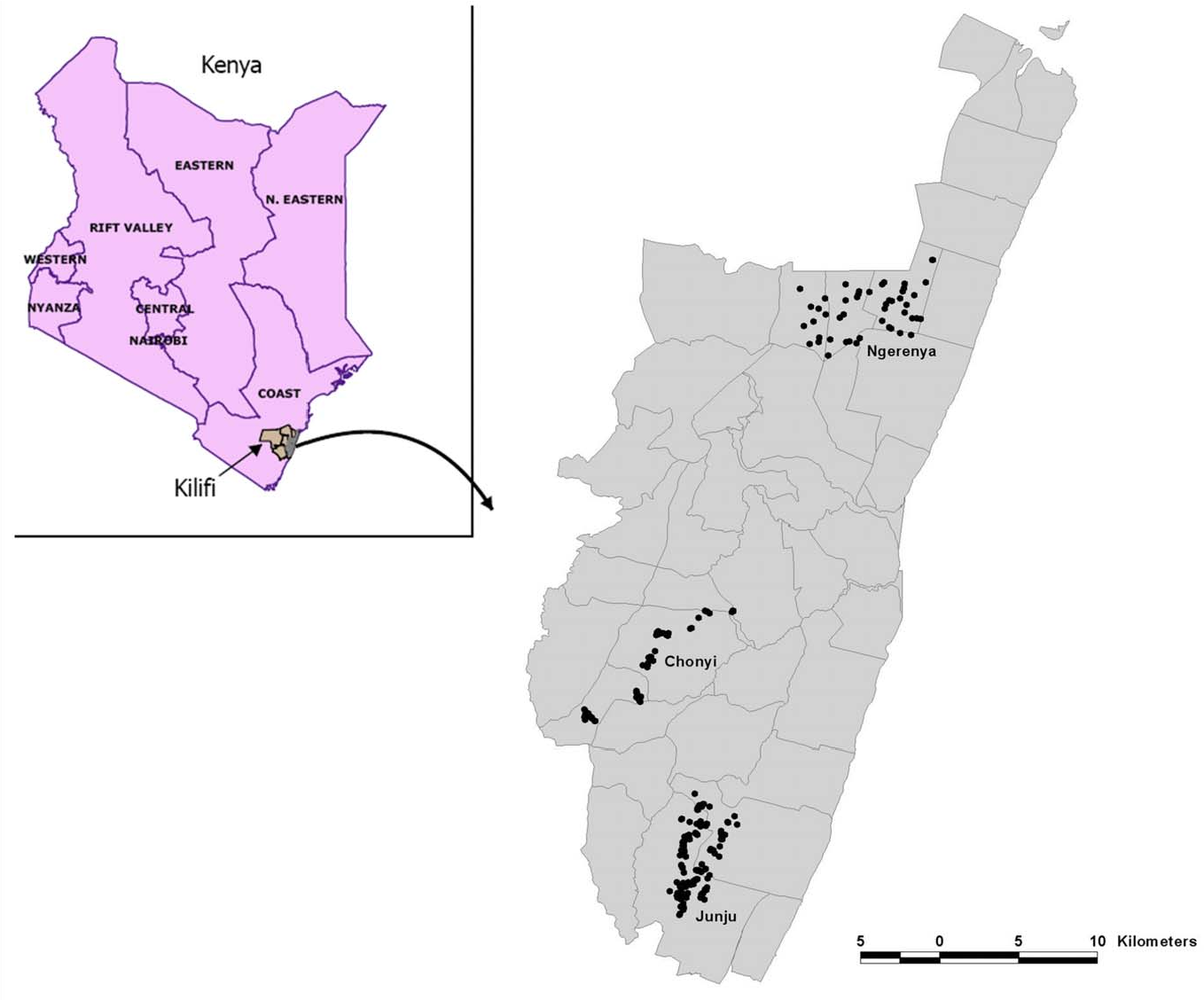 Figure 1. The distribution of homesteads monitored in the three cohorts is shown within Kilifi District.