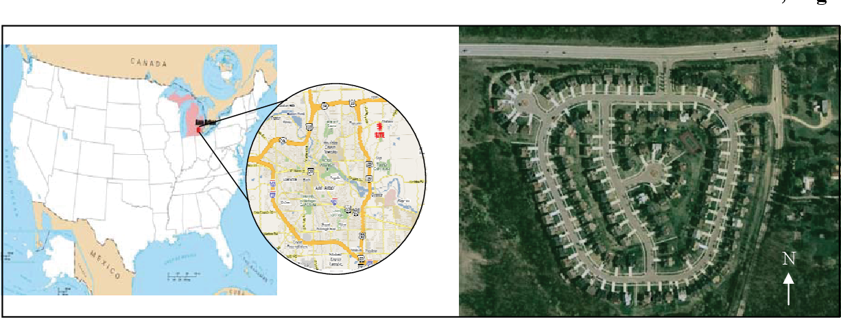 Figure 2: Study site location and orthophotograph from Google Maps
