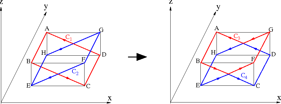 """Figure 13: Two sterically crossing rectangles (left) and their """"uncrossed"""" loops (right). In the neighborhood of each crossing point, two loops are locally on the same surface."""