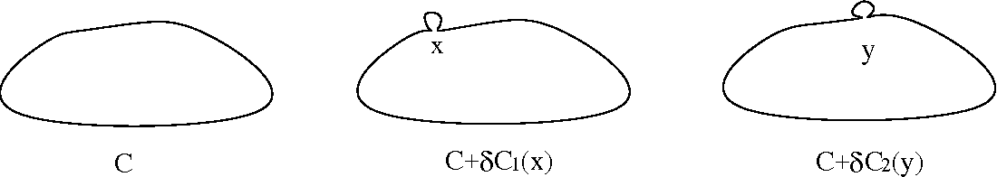 Figure 4: Wilson loop C and its small deformed Wilson loops, C + δC1(x) and C + δC2(y).