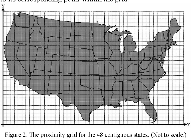 Figure 2. The proximity grid for the 48 contiguous states. (Not to scale.)