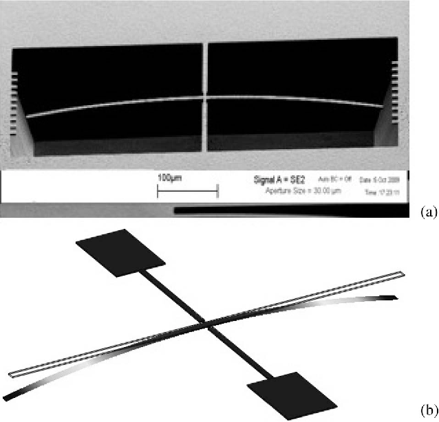 Fig. 4. (a) A 70◦ tilted SEM image of the micromachined planar rotating probe with a zero displacement (L0 = 0). (b) FEM analysis of the z(x) deflection of the central rotating-probe arm due to the gradient residual stress component.