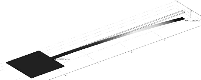 Fig. 7. FEM simulation of the cantilever (400 μm length) bending of −21.1 μm due to the residual stress field.