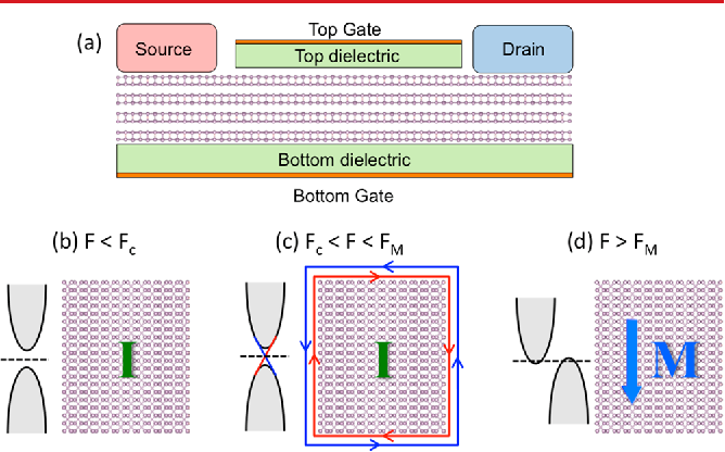 """Figure 4. (a) Model of a dual-gated topological field effect transistor based on a few-layer phosphorene channel. (b−d) Schematic band structure and spin and charge current in the phosphorene channel for (b) F < Fc, (c) Fc < F < FM, and (d) F > FM. The letter """"I"""" and """"M"""" stands for insulating and metallic, respectively."""