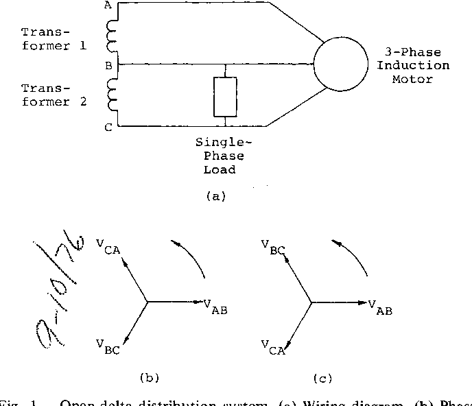fig  1  open-delta distribution system  (a) wiring diagram
