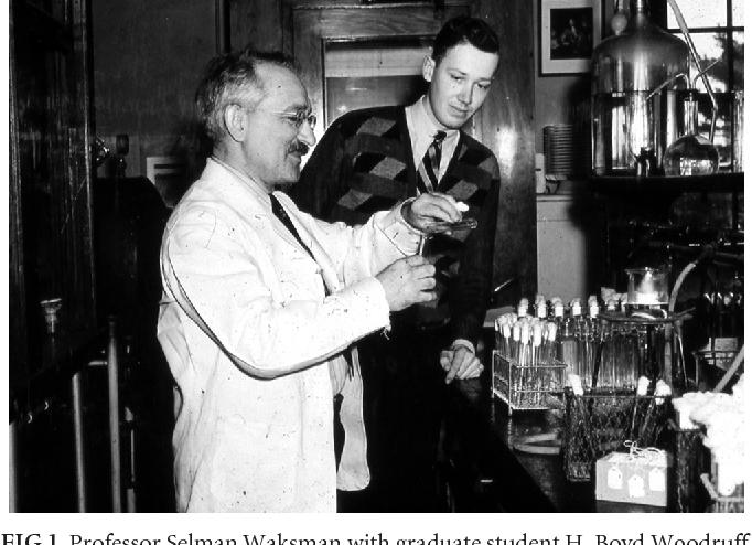 FIG 1 Professor Selman Waksman With Graduate Student H Boyd Woodruff Laboratory Photograph During