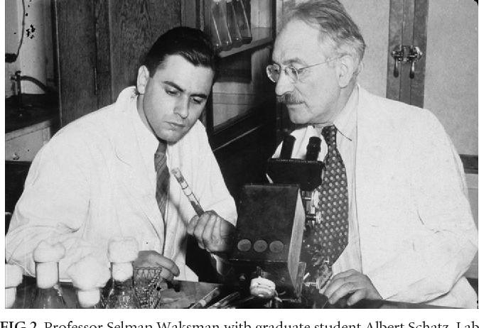 FIG 2 Professor Selman Waksman With Graduate Student Albert Schatz Laboratory Photograph During The Studies